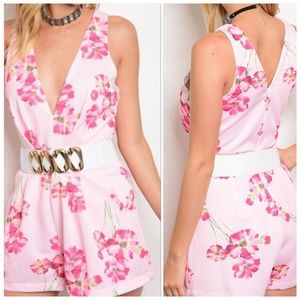 Floral Pink Romper With Belt